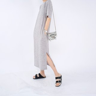 Gao fruit / GAOGUO original designer brand women's round neck short sleeve T-shirt and gray long dress in style