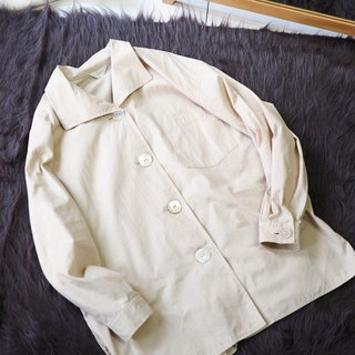 River Water Mountain - Shizuoka shallow khaki shell buckle youth time antique cotton lapel shirt jacket coat