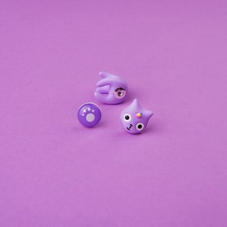 Purple Unicorn Polymer Clay Earrings - Unicat Cat Earrings