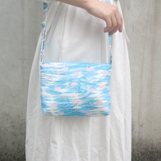 Swans in the clouds, hand-stitched, lightweight side bags