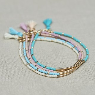 Dainty Pastel Beaded Tassel Bracelet \ 14K Gold Filled \ Small Seed Beads