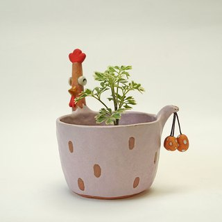 Chicken ceramic plant pot , cactus ,bonsai , handmade ceramic