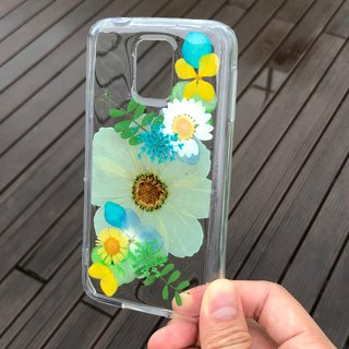 Samsung Galaxy S5 Plus Handmade Dry Pressed Flowers Case Green Flower case 005