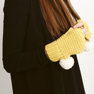 YELLOW SUPER POM FINGERLESS GLOVES