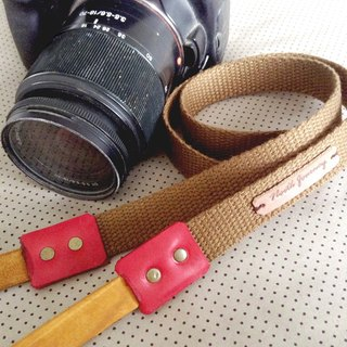 Camera Strap [Brown Fabric Red Leather] Hand Stamp ,Personalized ,Name ,Initials ,Customized