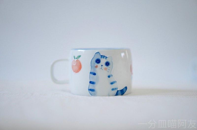 一分皿胖桃子貓馬克杯水杯