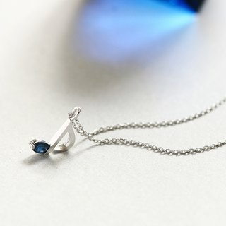 Sapphire Music note necklace silver925