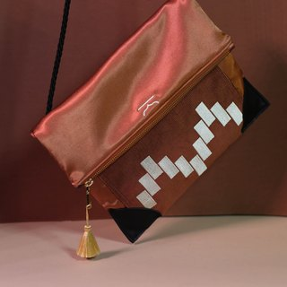 Orange adaptable moroccan shoulder bag and clutch - Moroqshade