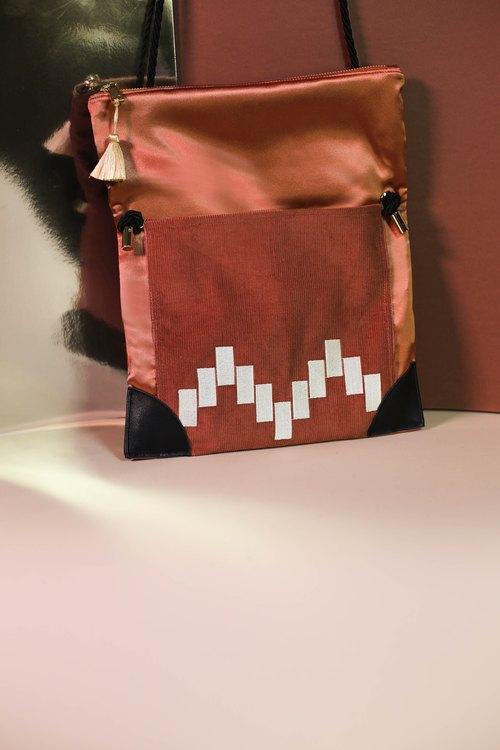 22dbf1f1db59 Orange adaptable moroccan shoulder bag and clutch - Moroqshade - Designer  Kodangs