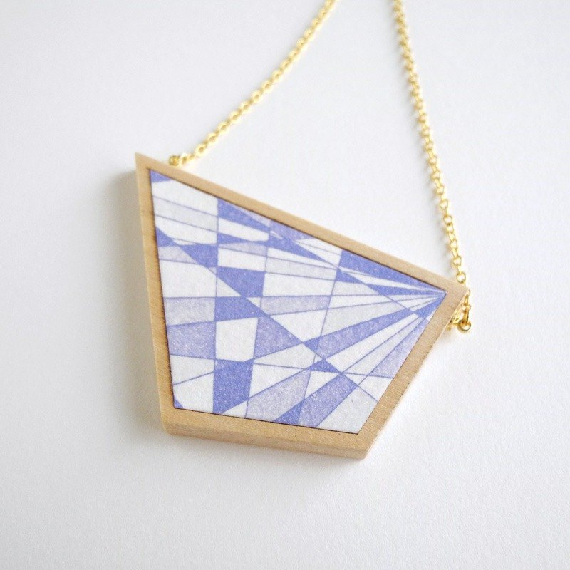 The necklace of etching print and wood <The pieces of ores / Violet>
