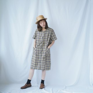VINTAGE CHECKED BUTTON-DOWN DRESS