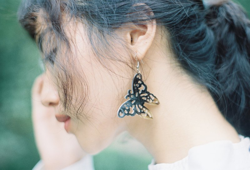 Buffalo Horn Earring Butterfly