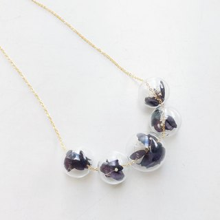 Preserved Flower Planet Ball Black Necklace