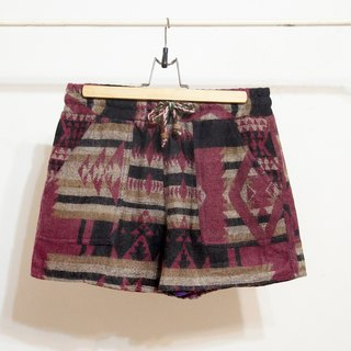 Valentine's Day gift handmade limited edition women folk style stitching national wind knitting wool shorts shorts - purple tone geometric ethnic totem
