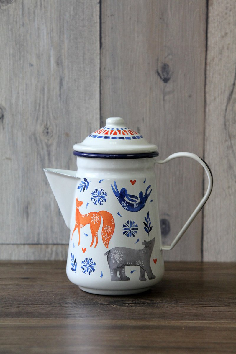 British Wild & Wolf forest animal series large capacity enamel coffee pot / kettle / teapot 950ml
