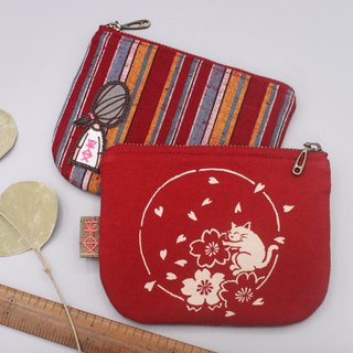 Ping An Xiaole Wallet - Cat's Gubu Heart Cherry, Japanese Hand Cotton