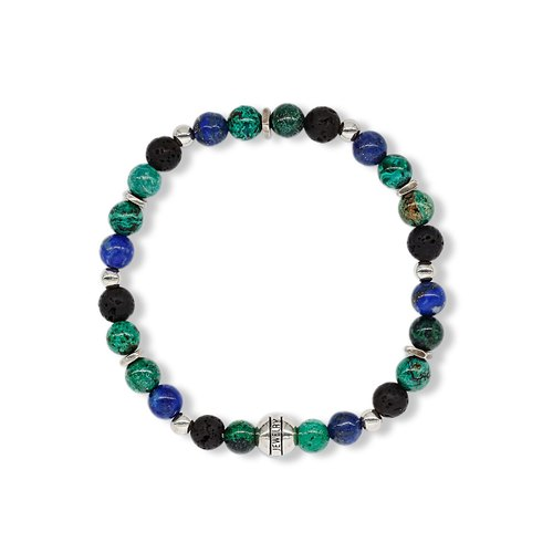 String series night sky bracelet 925 sterling silver lapis lazuli malachite volcanic rock