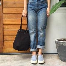 Black Canvas 2way Bucket Bag w/  Strap Leather Handles