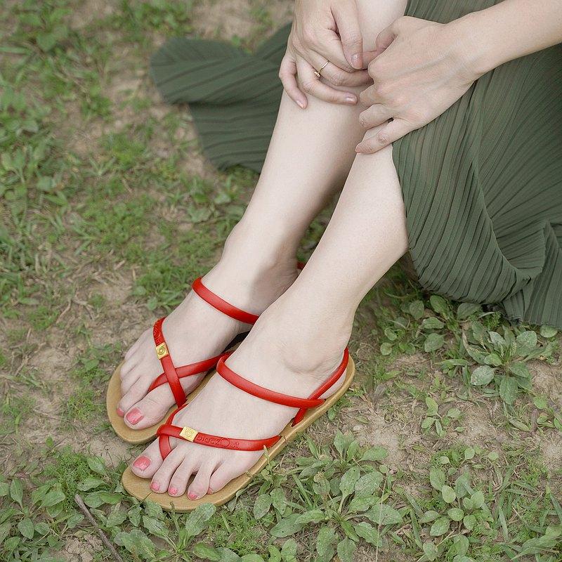 訂製細帶涼鞋-卡其底+紅鞋帶