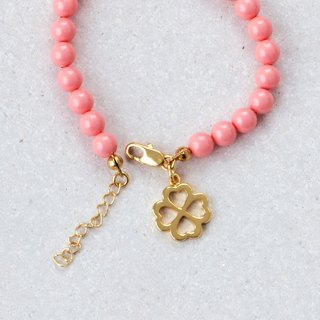 Four Leaf Clover Bracelet in Brass with Swarovski Pearls