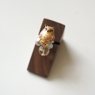 [One horned forest clan] long ears owl painted dream ring single ear / ear clip