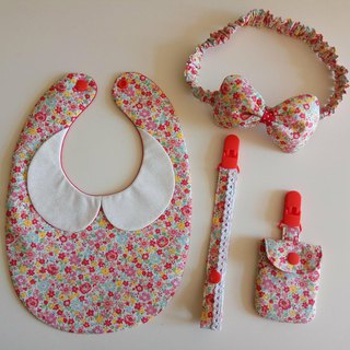 Red flowers gift month baby bib + pacifier clip + peace bag + hair band