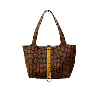 AMINAH- Coffee Crocodile Embossed Leather Tote [Art.201]