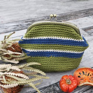 A mother's hand-knitted gold package - olive green x dark blue stripes / bronze mouth gold bag / purse / side backpack / universal bag / gift / Mother's Day