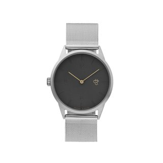 Swedish brand - Nuno Mini silver dark grey dial - Silver Milan with adjustable watch