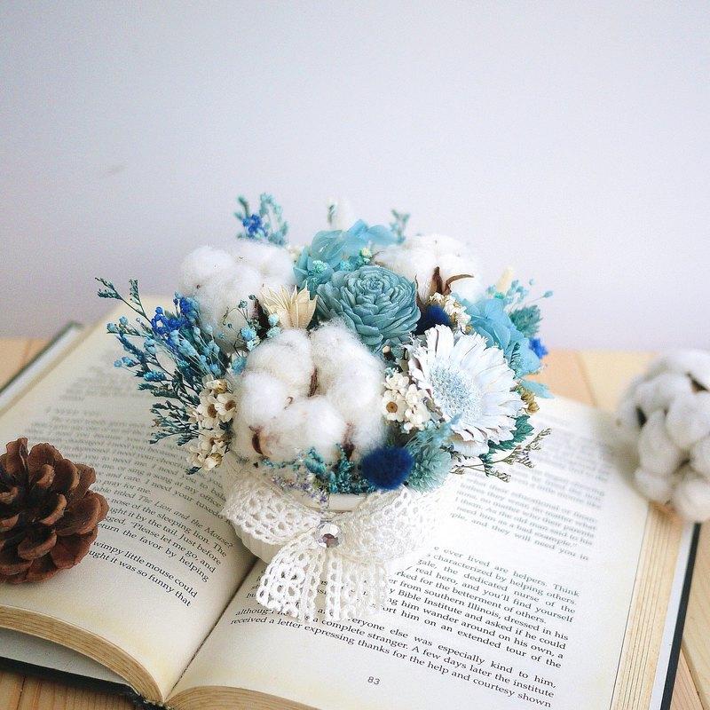甜點派對-藍白棉花 乾燥小桌花