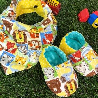 Colorful animal gift boxes - triangular bib + toddler shoes