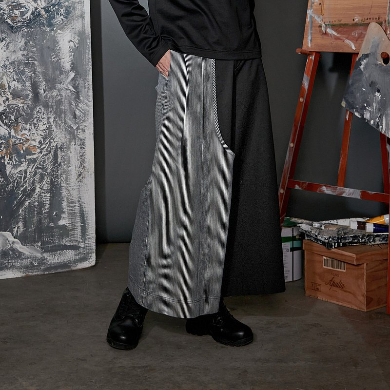 Starry night asymmetric stripe color matching long pants