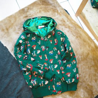 Toyama Green Psychedelic Mushroom Childhood Story Party Antique Slip Cloak Hooded Zip Jacket