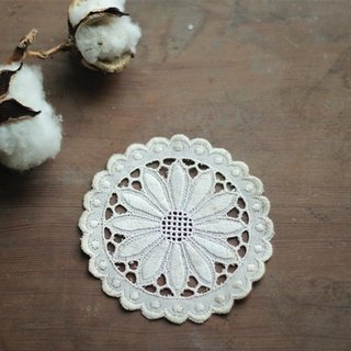 【Good day fetus】 Germany Vintage hand embroidery / Artex embroidered antique lace coaster