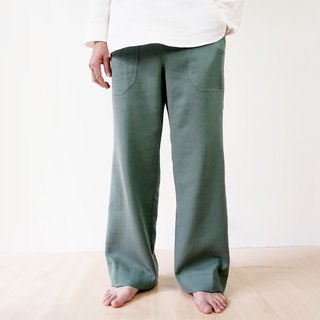 Harmony Gauze Straight Pants - Green