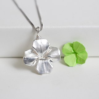 Handmade Origami Clover Necklace in Sterling Silver