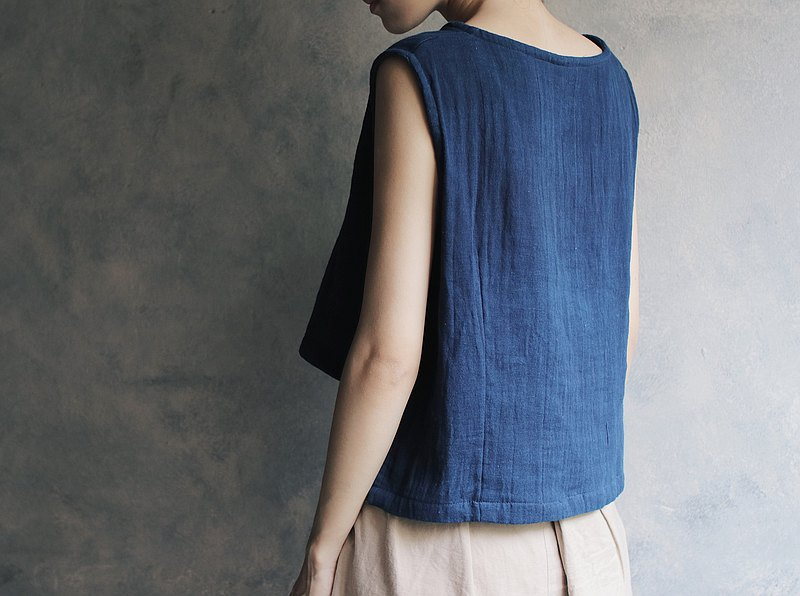 Short double layer gauze vest top blue / white / coffee