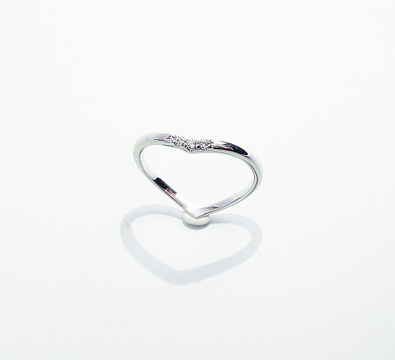 Love heart-shaped inlay ring hand made sterling silver silver925 Valentine's Day love my heart