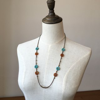 Blue, light brown hibiscus flower necklace blue & brown hibiscus glass beads necklace