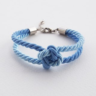 Blue and Light blue square knot rope bracelet