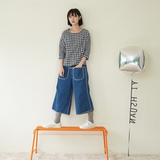 Gray ribbon piping cowboy wide pants