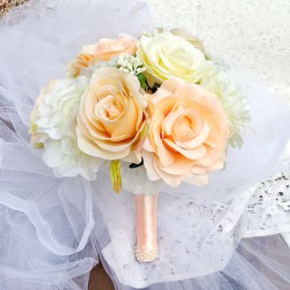 Wedding flower bouquet, bridal bouquet, Champagne rose bouquet B012