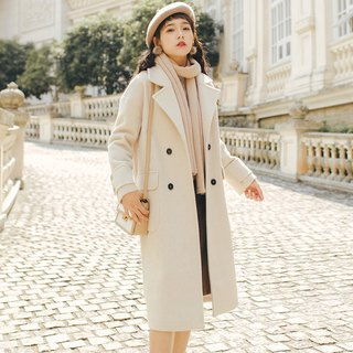 2018 autumn and winter women's new solid color large pocket suit collar jacket