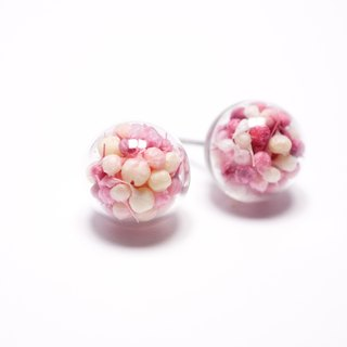 A Handmade red with pink gradient Xia grass glass ball earrings