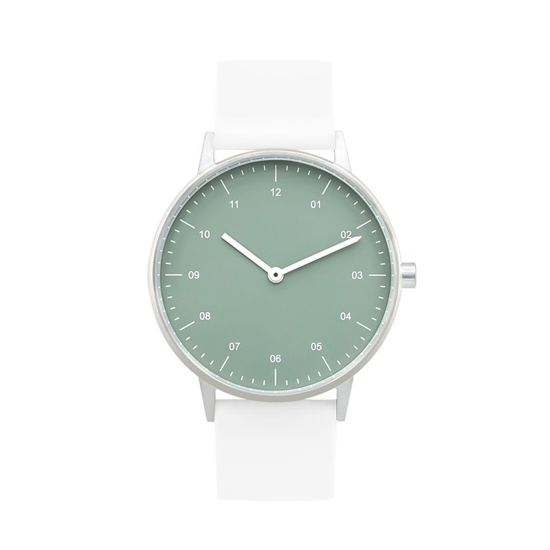 BIJOUONE B40 Series Watch White Silicone Strap Silver Case Green Dial 3ATM Waterproof
