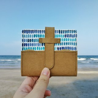 [海の色]Blue little hand-painted washed kraft paper clip