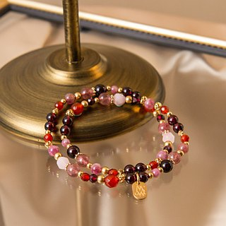 <Slow temperature natural stone>C1238 red pomegranate heart wheel double circle bracelet // grandmother's dowry