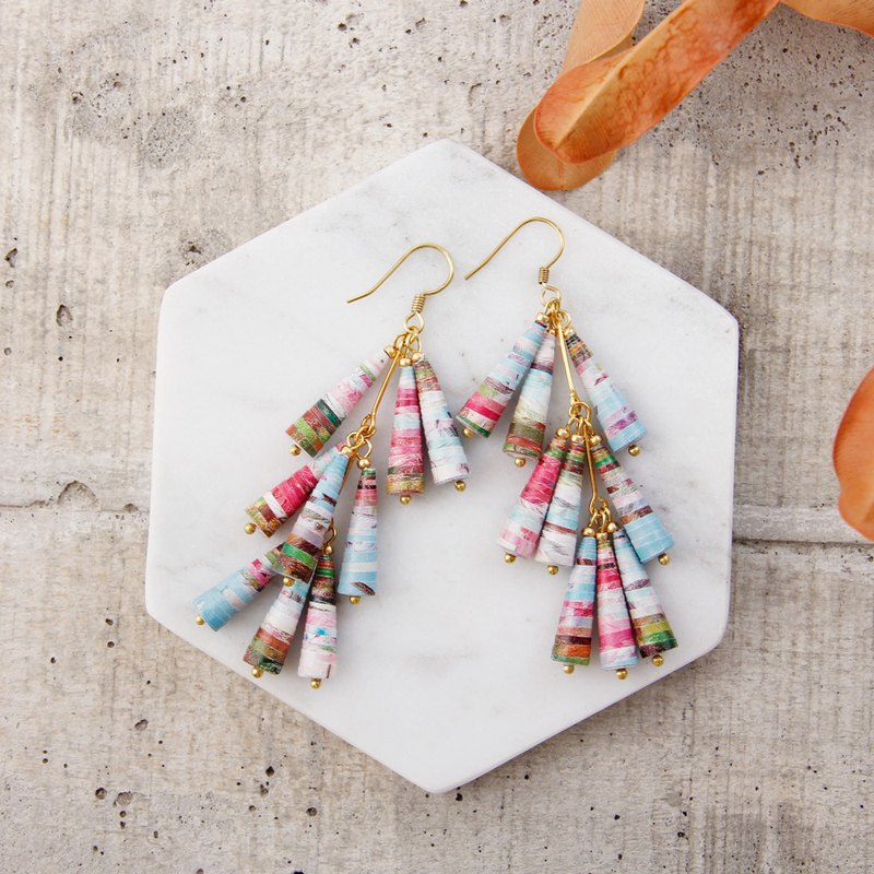 Musev Spring Color Three-Layer Awl Earrings