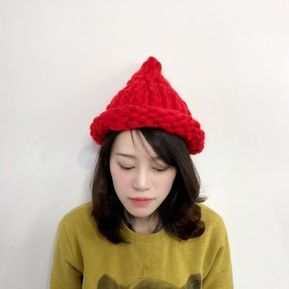 MINIxROSE Coarse and warm hand-knitted hat - red