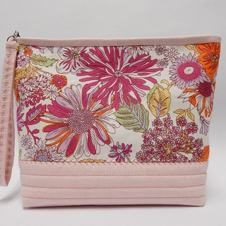 Pink printed of lined with resin cotton cosmetic bag / Multifunction bag / Handbag